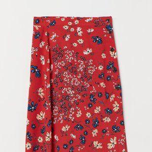 H&M Calf-length Red Floral Skirt